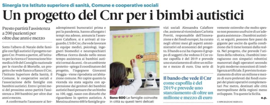 Nuovo progetto dell'Istituto IRIB CNR di Messina per i bimbi autistici